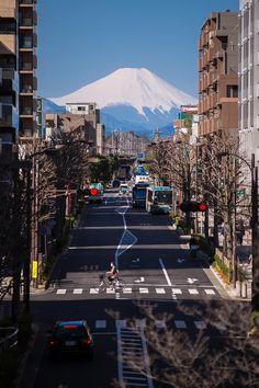 View of Mount Fuji from Higashikurume station. Higashikurume, Tokyo, Japan