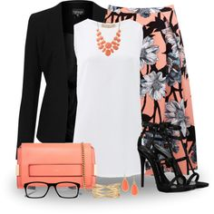 Black and Coral by snickersmother on Polyvore featuring Michael Kors, Topshop, Miss Selfridge, Giuseppe Zanotti, Chloé, Stella & Dot, Charlotte Russe and Nordstrom Rack