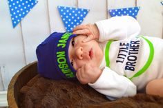 Baby Boy Newborn Through 18 Months Little Brother Outfit Onesie Bodysuit plus Personalized Name Beanie by SweetDesignsBtque on Etsy https://www.etsy.com/listing/205886758/baby-boy-newborn-through-18-months