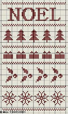Noel - cross stitch (but could be filet crochet) Xmas Cross Stitch, Cross Stitch Needles, Cross Stitch Borders, Cross Stitch Samplers, Cross Stitch Charts, Cross Stitching, Cross Stitch Embroidery, Cross Stitch Patterns, Christmas Embroidery