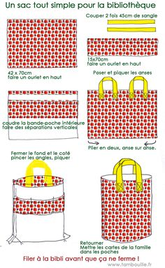 Tote bag tutorial - it's in French, but it looks pretty straight-forward