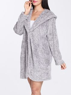 c4e292b8b7bc Shop Women s Night Gown Solid Long Sleeve Hooded Coral Fleece Sleepwear  online at Jollychic