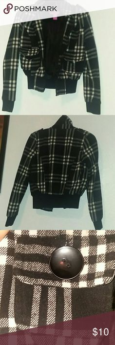 Jacket Black and white plad jacket out of order Jackets & Coats Puffers
