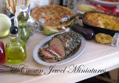Pepper crusted roast beef by IGMA Artisan Robin Brady-Boxwell (Crown Jewel Miniatures)