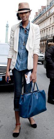 Denim on denim with a white blazer and a fedora. Super street style