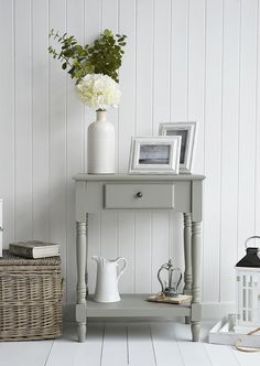 The White Lighthouse hallway furniture. Browse our range of small hall furniture, hallway console tables and hall storage to match every style of interiors, size and budget. Free UK delivery on most hall pieces Small Console Tables, Hallway Console, Narrow Console Table, Foyer, Living Room White, My Living Room, Living Room Decor, Hall Table Decor, Hall Tables