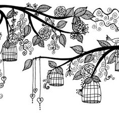 Download Print And Color Artkins Birdcage Tree Greeting Card