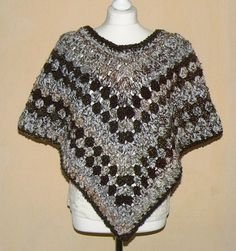 SALE; Cuddle Chenille  Crochet Grannysquare Look Fashion  PONCHO Size S-L brown beige coloired (35.00 EUR) by CrochetRagRug