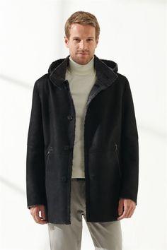 JASON Men Casual Black Shearling Coat Black Noble   Luxury Shearling Black Shearling Coat, Mens Shearling Jacket, Black Pattern, Raincoat, Men Casual, Pure Products, Luxury, Model, Jackets