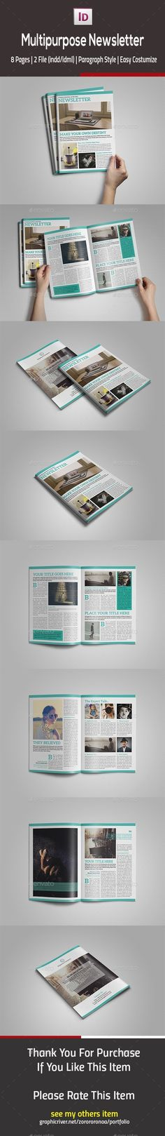 Multipurpose InDesign Newsletter Template InDesign INDD #design Download: http://graphicriver.net/item/multipurpose-indesign-newsletter/13305894?ref=ksioks