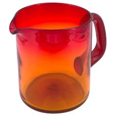 Beautiful colors excellent condition on this petite glass amberine pitcher. Blenko Glass, Fire Glass, Glass Pitchers, Crackle Glass, Scandinavian Modern, Modern Materials, Glass Collection, Hand Blown Glass, Flower Vases