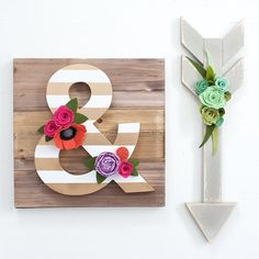 Wood  Felt Flowers = one happy crafter. You guys I am having so much fun with these new items what do you think? I can't take credit for the awesome wood arrow that's all @melissaannecompany but the amperdsand is mine. by sugarsnapboutique