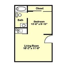 Studio Apartment floor plan - Waterview Park