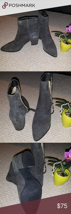 Michael Kors gray ankle suede heels boots! Brand new prefect condition !  Leather upper , rubber outsole , very light and comfortable !! Do not come with box but i will replace with Tory Burch empty box and TB dust bag ( worth $15 ) . Michael Kors Shoes Heeled Boots