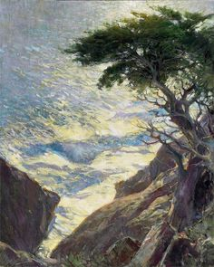 """Thomas Jefferson Kitts - """"Shimmer and Glow, Point Lobos, CA"""" Seascape Paintings, Cool Paintings, Landscape Paintings, Landscapes, Beach Paintings, Watercolor Pictures, Water Art, Tree Art, American Artists"""