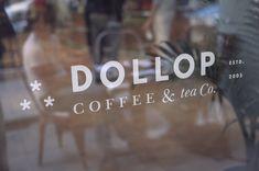 Creative Windows, Dollop, Coffee, Tea, and Window image ideas & inspiration on Designspiration Window Signage, Cafe Window, Diy Furniture Plans, Ikea Furniture, Furniture Buyers, Furniture Market, Furniture Logo, Furniture Storage, Cafe Branding