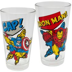 Two of Marvel Comics' heavy hitters appear in bold, action-packed color on this set of two pint glasses; one with Captain America and the other with Iron Man. The set comes in a storage box that's perfect for gift giving.