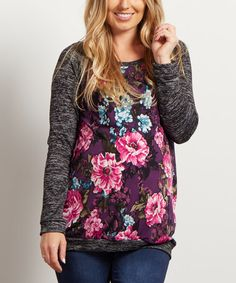 Love this PinkBlush Black Colorblock Floral Long-Sleeve Maternity Top on #zulily! #zulilyfinds
