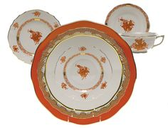 Bamboo + Trellis: Dreaming of Hermés Orange Herend China, Bamboo Trellis, Hermes Orange, Casual Dinnerware, China Patterns, Porcelain Ceramics, Tea Cup Saucer, Beautiful Artwork, Table Settings