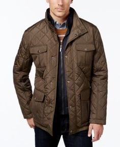 London Fog Men's Corduroy-Trim Layered Quilted Jacket - Tan/Beige XXXL