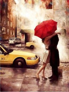 """unknownskywalker: """" The Long Goodbye by Daniel Del Orfano Embellished giclee on Canvas. x """" - unknownskywalker: The Long Goodbye by Daniel Del. The Long Goodbye, Umbrella Art, Umbrella Painting, Small Umbrella, Parasols, Photo Art, Kiss Photo, Art Photography, Romantic Photography"""
