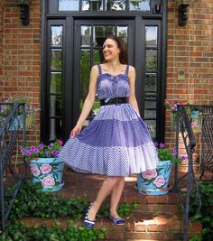 vintage dress, painted flower pots