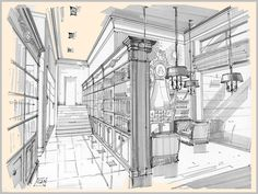 sketches of interiors by Aleksandr Starostin, via Behance