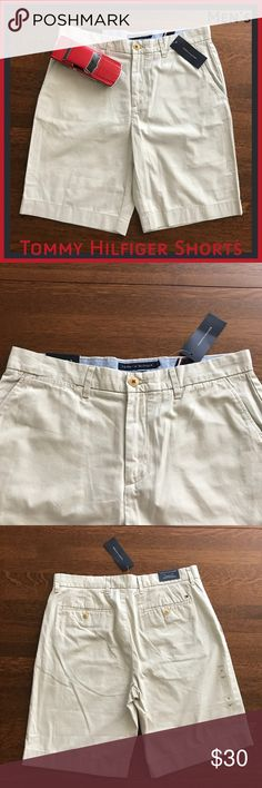Men's Tommy Hilfiger Khaki Shorts NWT 33 35 Get your wardrobe ready for summer or vacation with these brand new Tommy khakis!  From a smoke-free and happy-to-bundle closet.  No trades or transactions outside of Poshmark. [N318-320] Tommy Hilfiger Shorts Flat Front