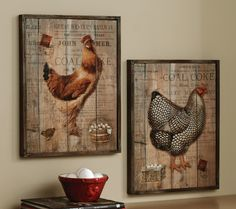 """Roosters on barn plank  MEASURES: 13""""L x 1 1/2""""W x 17""""H.   $59.95"""