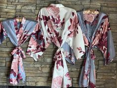 Slate Blue Bridesmaid Robes -Floral Silk Robes -Getting Ready Robes -Bridal Party -Kimono Robes- Bridesmaid Gift- Gift for Bridesmaid Wedding Day Robes, Bridal Party Robes, Wedding Stuff, Wedding Gifts, Blue Bridesmaids, Bridesmaid Robes, Flower Girl Robes, Kids Robes, Mother Of The Groom Gifts