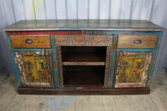 Colourful, Hand Painted Reclaimed Console