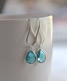 Silver Aquamarine Drop Earrings.  Aquamarine Teardrop by RusticGem