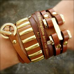 All Four one leather bracelet set4 of our most by BeWeeShop