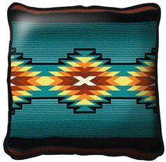"""~Set of 2~ 17"""" AYDIN Blue Western Southwest Design Tapestry Cushion Pillows $58"""