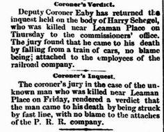 Genealogical Gems: On This Day: Schegel fatally struck by train