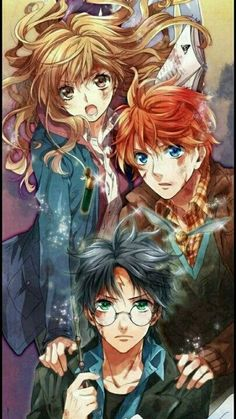 harry potter fan art wizarding world wizard witch hogwarts magic fantasy jk rowling potterhead magna hermione granger ron weasley Harry Potter Fan Art, Harry Potter Anime, Harry Potter Hermione, Images Harry Potter, Mundo Harry Potter, Harry Potter Drawings, Harry Potter Universal, Harry Potter Fandom, Harry Potter Characters