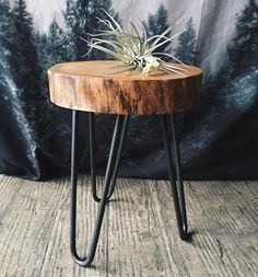 Camp Hunt | camphunt.co | Chicago Reclaimed, salvaged wood stump table with metal hairpin legs