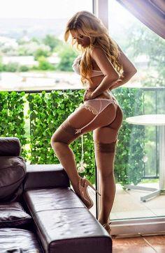 beauty blonde stockings