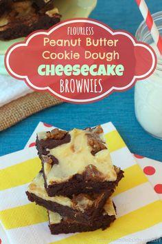 Flourless Peanut Butter Cookie Dough Cheesecake Brownies | cupcakesandkalechips.com | #glutenfree #dessert #chocolate