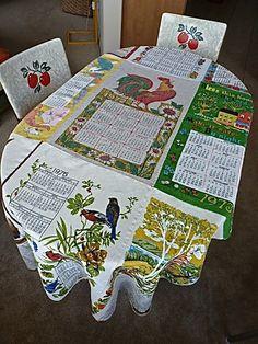 19681976 Calendar Tablecloth made from Nine Vintage by Megover