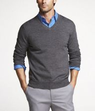 This is a perfect example of Men's Business Casual attire. Dress pants with a collared shirt and a v-neck sweater make this look casual and professional!