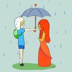 Hora de aventuras: fin dandole un paraguas a la princesa llama