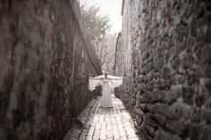 Romantic empire wedding dress with long veil in the small street in Paris #laceweddingdress #veil #robedemarieedentelle  Photo credit: Next Door Stories