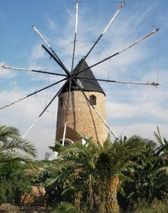 Windmill Mar Menor, Cartagena, Murcia, Spain Spain Places To Visit, Oh The Places You'll Go, Places To Travel, Cartagena Spain, Water Wheels, Wind Mills, Virtual Travel, Spain And Portugal, Le Moulin