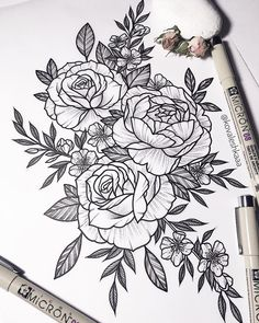 "861 Likes, 8 Comments - Victoria Kovalenko | Tattooer (@kovaleshkaaa) on Instagram: ""Свободные эскизы✨…"" #flowertattoos"