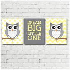 Owl Nursery Decor Woodland Gender Neutral Wall Art Kids Room Baby Shower Gift Idea
