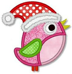 Little Santa Bird Applique - 3 Sizes! | Featured Products | Machine Embroidery Designs | SWAKembroidery.com