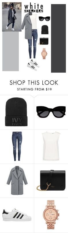 """""""What is better than white sneakers? ..."""" by shewaodufuwa ❤ liked on Polyvore featuring Ivy Park, Karen Walker, H&M, Finders Keepers, Mulberry, adidas Originals and FOSSIL"""