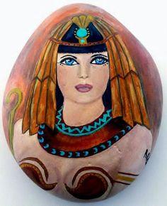 Egyptian Queen - Hand Painted Rock Art