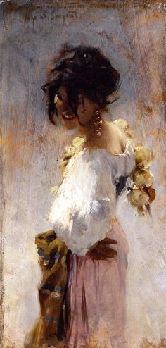 """Rosina,"" John Singer Sargent, 1878, oil on panel, 13.88 x 6.75"", Colby College Museum of Art. This little painting of Sargent's muse, Rosina Ferrara, is one of his best of her.  The lively brushwork looks like it could have been painted yesterday by Richard Schmid."